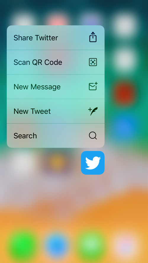 Quick Actions in iPhone